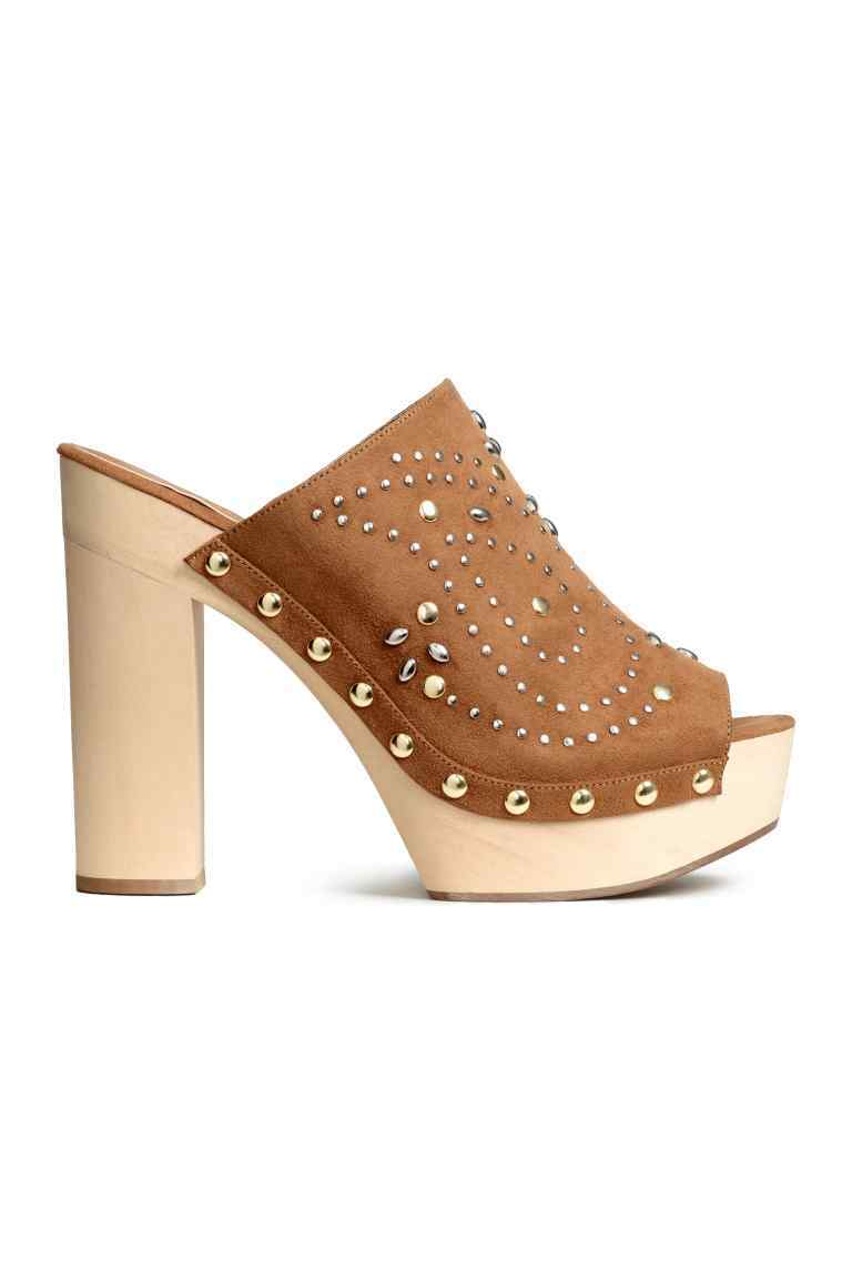 Studded Platform Mules - predominant colour: tan; material: faux leather; heel height: high; embellishment: studs; heel: block; toe: open toe/peeptoe; style: mules; finish: plain; pattern: patterned/print; occasions: creative work; shoe detail: platform; season: s/s 2016; wardrobe: highlight