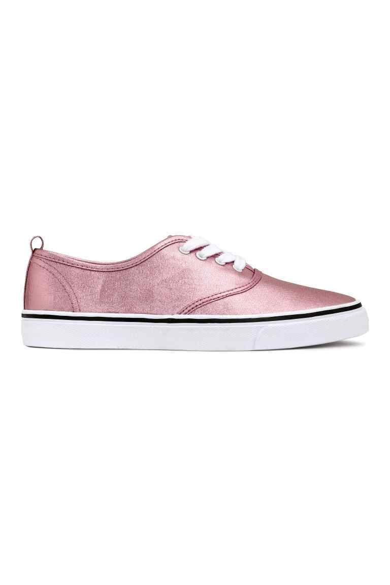 Metallic Canvas Trainers - predominant colour: pink; occasions: casual; material: fabric; heel height: flat; toe: round toe; style: trainers; finish: metallic; pattern: plain; shoe detail: moulded soul; season: s/s 2016; wardrobe: highlight
