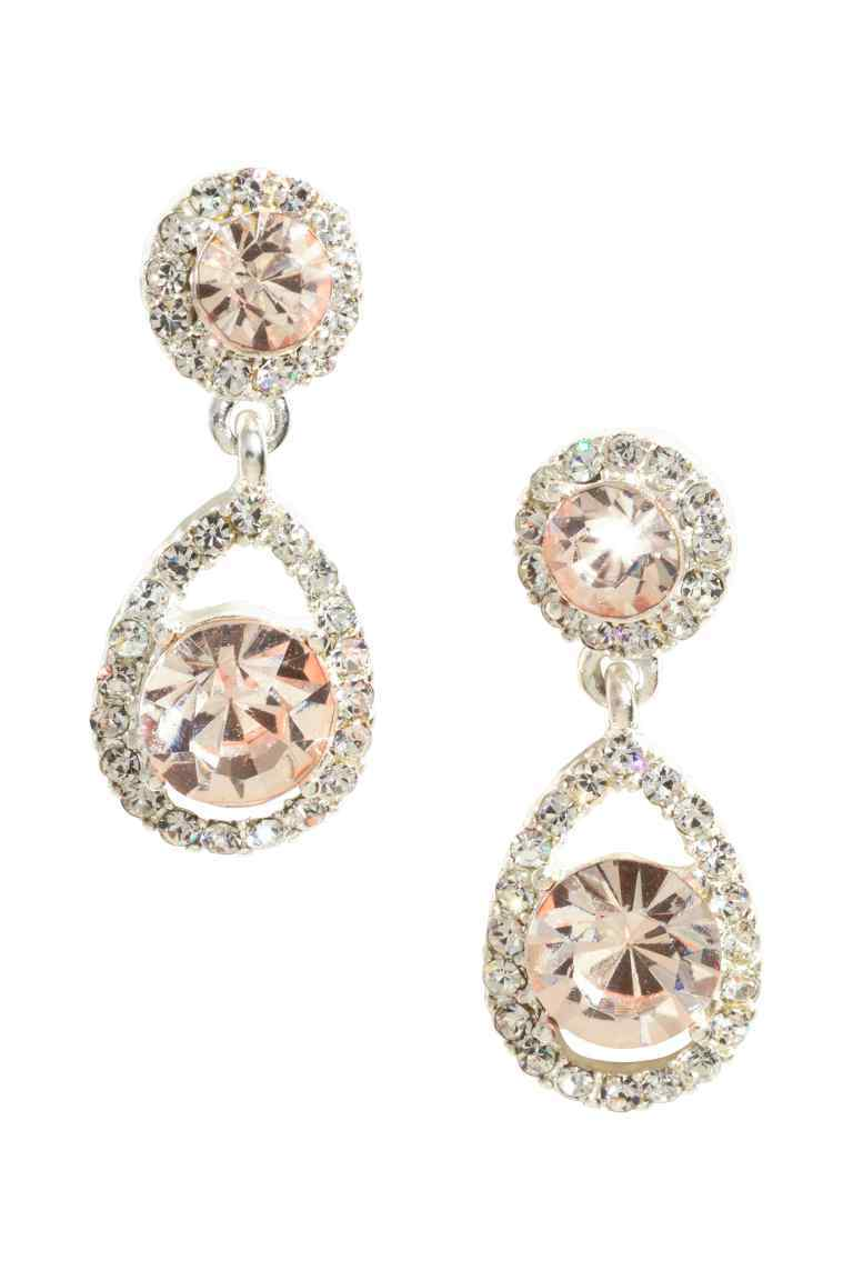 Sparkly Earrings - secondary colour: blush; predominant colour: silver; occasions: evening, occasion; style: drop; length: long; size: large/oversized; material: chain/metal; fastening: pierced; finish: metallic; embellishment: crystals/glass; season: s/s 2016; wardrobe: event