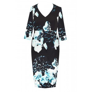 Double Silk V Neck Dress - style: shift; neckline: v-neck; secondary colour: pale blue; predominant colour: black; occasions: evening; length: on the knee; fit: body skimming; fibres: silk - 100%; sleeve length: 3/4 length; sleeve style: standard; pattern type: fabric; pattern: florals; texture group: other - light to midweight; multicoloured: multicoloured; season: s/s 2016; wardrobe: event