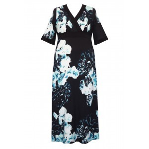 Double Silk Kimono Sleeve Dress - length: calf length; neckline: v-neck; style: kaftan; secondary colour: pale blue; predominant colour: black; occasions: evening, occasion; fit: body skimming; fibres: silk - 100%; sleeve length: short sleeve; sleeve style: standard; pattern type: fabric; pattern: florals; texture group: other - light to midweight; multicoloured: multicoloured; season: s/s 2016