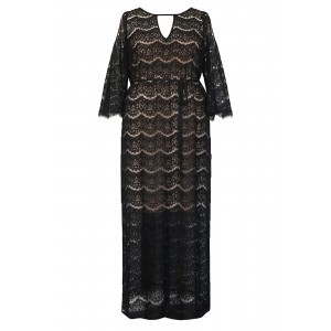 Eyelash Lace Maxi Kaftan & Slip - style: maxi dress; length: ankle length; waist detail: fitted waist; predominant colour: black; occasions: evening; fit: body skimming; neckline: peep hole neckline; fibres: cotton - mix; sleeve length: 3/4 length; sleeve style: standard; texture group: lace; pattern type: fabric; pattern size: standard; pattern: patterned/print; season: s/s 2016; wardrobe: event