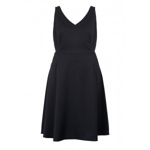 Crepe Tailoring V Neck Swing Dress - neckline: v-neck; pattern: plain; sleeve style: sleeveless; predominant colour: black; occasions: evening; length: just above the knee; fit: fitted at waist & bust; style: fit & flare; fibres: polyester/polyamide - 100%; sleeve length: sleeveless; texture group: crepes; pattern type: fabric; season: s/s 2016; wardrobe: event