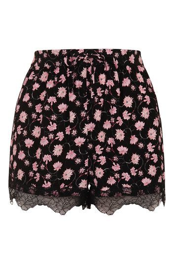 Floral Lace Trim Shorts - waist: high rise; waist detail: belted waist/tie at waist/drawstring; secondary colour: pink; predominant colour: black; fibres: viscose/rayon - 100%; occasions: holiday; pattern type: fabric; pattern: florals; texture group: woven light midweight; embellishment: lace; pattern size: standard (bottom); trends: pretty girl; season: s/s 2016; style: shorts; length: short shorts; fit: slim leg; wardrobe: holiday