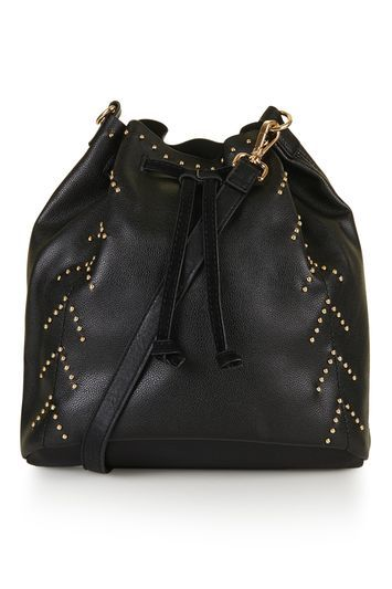 Pin Stud Bucket Bag - predominant colour: black; occasions: casual, creative work; type of pattern: standard; style: onion bag; length: shoulder (tucks under arm); size: standard; material: faux leather; embellishment: studs; pattern: plain; finish: plain; season: s/s 2016; wardrobe: investment