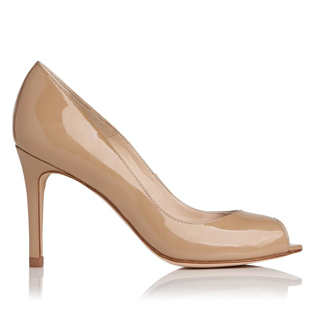 Olympia Taupe Patent Leather Open Court Nude Taupe - predominant colour: camel; occasions: evening, occasion; material: leather; heel height: high; heel: stiletto; toe: open toe/peeptoe; style: courts; finish: patent; pattern: plain; season: s/s 2016