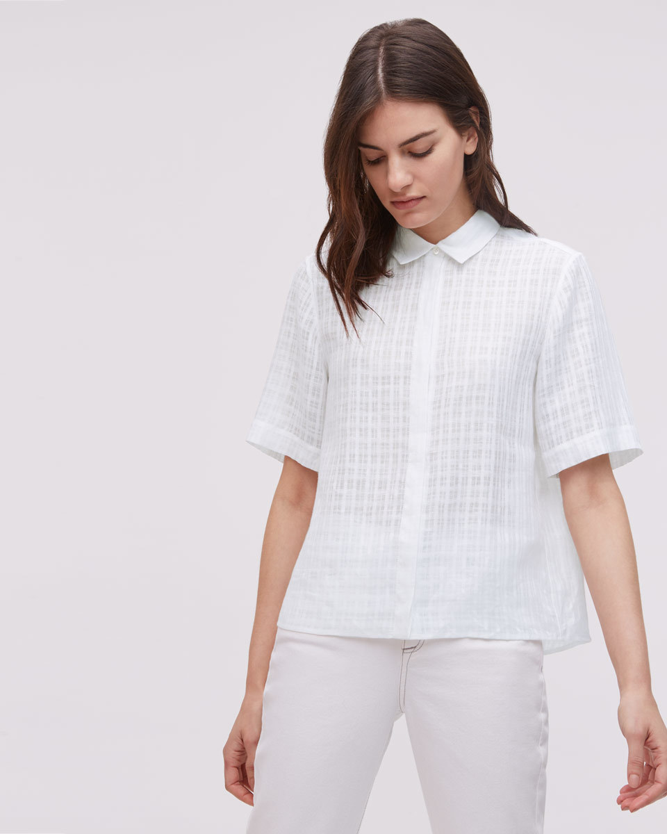 Short Sleeve Linen Check Blouse - neckline: shirt collar/peter pan/zip with opening; pattern: plain; style: shirt; predominant colour: white; occasions: casual; length: standard; fibres: linen - 100%; fit: body skimming; sleeve length: short sleeve; sleeve style: standard; texture group: cotton feel fabrics; pattern type: fabric; season: s/s 2016; wardrobe: basic