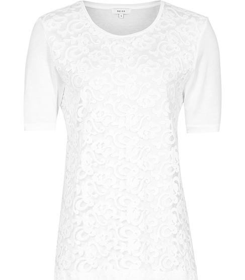 Yoko Lace Front T Shirt - neckline: round neck; style: t-shirt; predominant colour: white; occasions: evening; length: standard; fibres: viscose/rayon - 100%; fit: body skimming; sleeve length: short sleeve; sleeve style: standard; texture group: lace; pattern type: fabric; pattern size: standard; pattern: patterned/print; season: s/s 2016