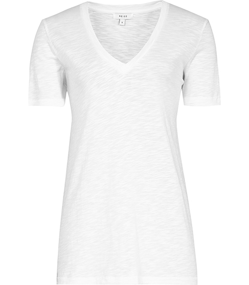 Willa Linen Mix T Shirt - neckline: v-neck; pattern: plain; style: t-shirt; predominant colour: white; occasions: casual; length: standard; fibres: linen - mix; fit: body skimming; sleeve length: short sleeve; sleeve style: standard; texture group: jersey - clingy; pattern type: fabric; season: s/s 2016; wardrobe: basic