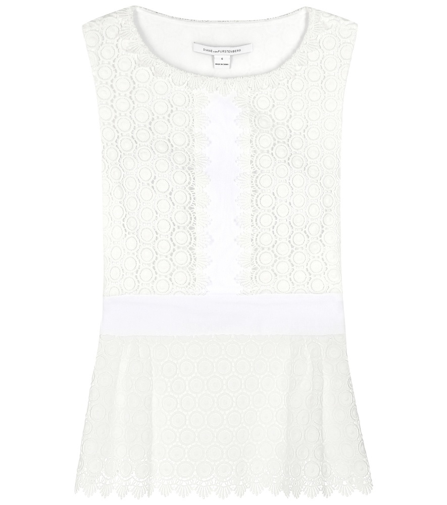 Tavita Broderie Anglaise Cotton Top - sleeve style: sleeveless; style: vest top; predominant colour: white; occasions: casual; length: standard; neckline: scoop; fibres: cotton - 100%; fit: straight cut; sleeve length: sleeveless; pattern type: fabric; pattern size: standard; pattern: patterned/print; texture group: broiderie anglais; season: s/s 2016; wardrobe: highlight