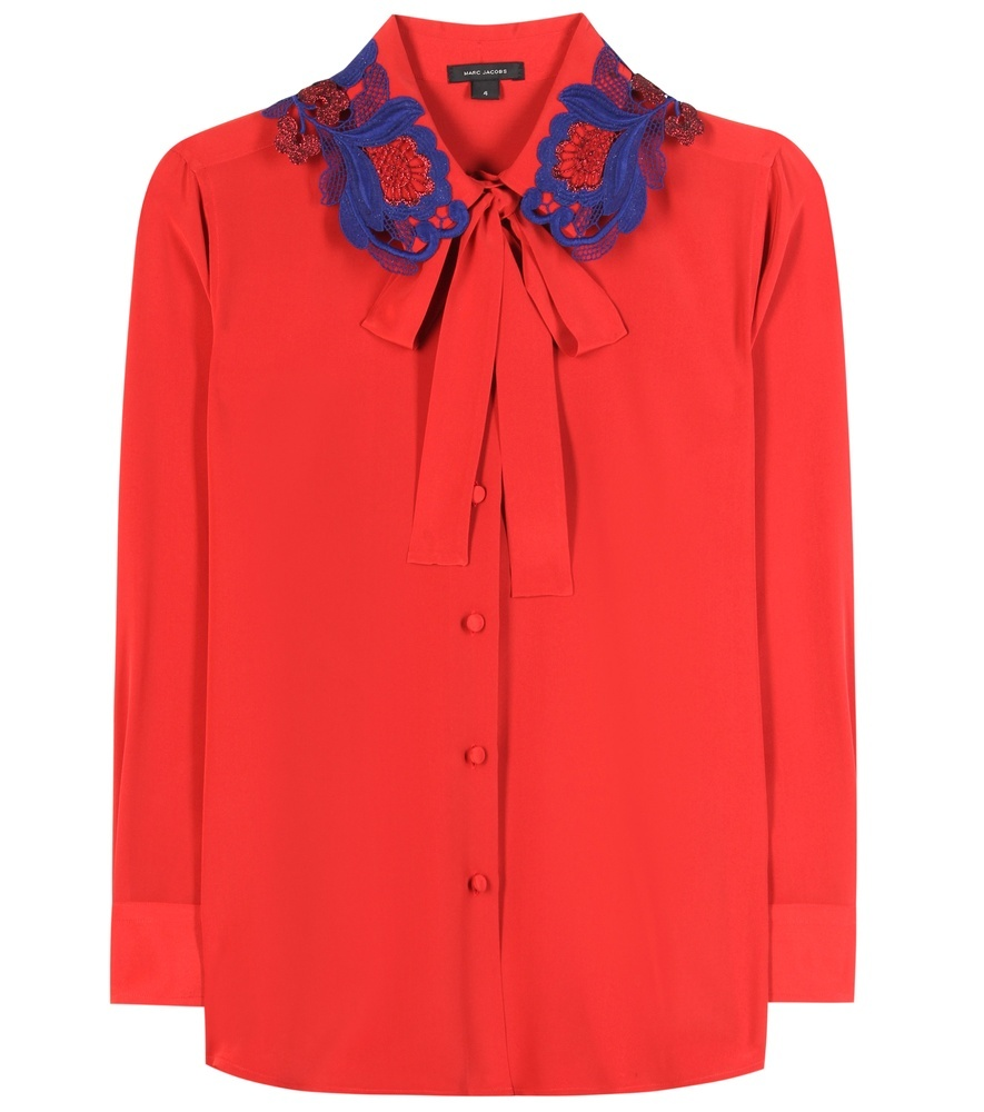Silk Shirt - pattern: plain; style: shirt; neckline: pussy bow; predominant colour: true red; secondary colour: royal blue; length: standard; fibres: silk - 100%; fit: straight cut; sleeve length: long sleeve; sleeve style: standard; texture group: crepes; pattern type: fabric; embellishment: lace; occasions: creative work; season: s/s 2016; wardrobe: highlight; embellishment location: bust