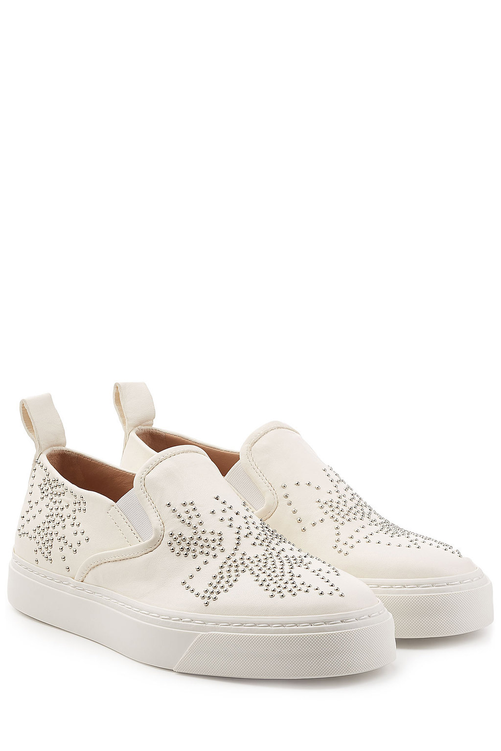Embellished Leather Slip On Sneakers - predominant colour: white; occasions: casual; material: leather; heel height: flat; embellishment: jewels/stone; toe: round toe; style: trainers; finish: plain; pattern: plain; season: s/s 2016; wardrobe: basic