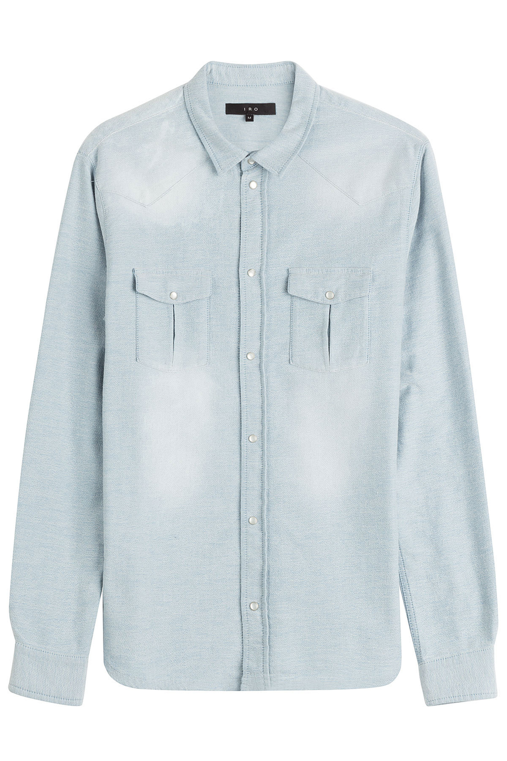 Cotton Shirt - neckline: shirt collar/peter pan/zip with opening; pattern: plain; style: shirt; predominant colour: pale blue; occasions: casual; length: standard; fibres: cotton - 100%; fit: body skimming; sleeve length: long sleeve; sleeve style: standard; texture group: cotton feel fabrics; bust detail: bulky details at bust; pattern type: fabric; season: s/s 2016; wardrobe: highlight