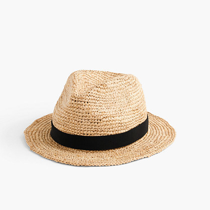 Packable Straw Hat - predominant colour: camel; secondary colour: black; occasions: casual, holiday; type of pattern: light; embellishment: ribbon; style: sunhat; size: standard; material: macrame/raffia/straw; pattern: colourblock; season: s/s 2016; wardrobe: holiday