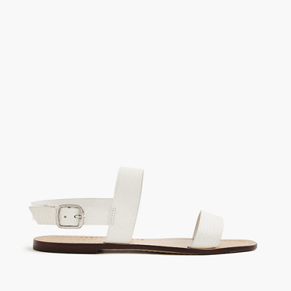 Jules Tumbled Leather Sandals - predominant colour: white; occasions: casual, holiday; material: leather; heel height: flat; heel: standard; toe: open toe/peeptoe; style: strappy; finish: plain; pattern: plain; season: s/s 2016; wardrobe: basic