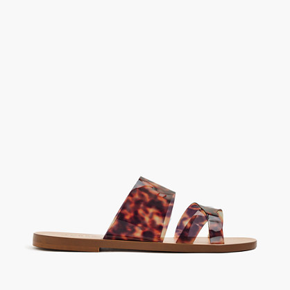 Bali Tortoise Slides - predominant colour: chocolate brown; secondary colour: tan; occasions: casual, holiday; material: leather; heel height: flat; heel: standard; toe: open toe/peeptoe; style: strappy; finish: plain; pattern: animal print; season: s/s 2016