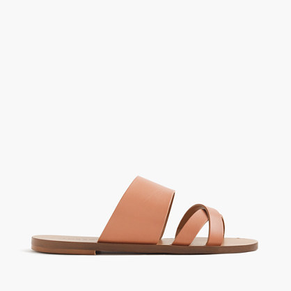 Bali Slides - predominant colour: camel; occasions: casual, holiday; material: leather; heel height: flat; heel: standard; toe: open toe/peeptoe; style: strappy; finish: plain; pattern: plain; season: s/s 2016; wardrobe: basic