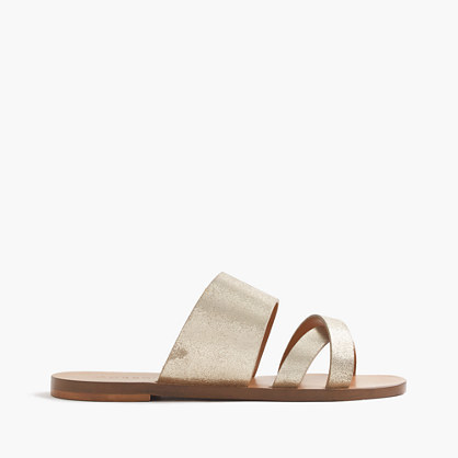 Bali Metallic Slides - predominant colour: silver; occasions: casual, holiday; material: leather; heel height: flat; heel: standard; toe: open toe/peeptoe; style: strappy; finish: metallic; pattern: plain; season: s/s 2016; wardrobe: basic