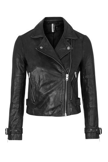 Washed Leather Biker Jacket - pattern: plain; style: biker; collar: asymmetric biker; predominant colour: black; occasions: casual, creative work; length: standard; fit: tailored/fitted; fibres: leather - 100%; sleeve length: long sleeve; sleeve style: standard; texture group: leather; collar break: high/illusion of break when open; pattern type: fabric; season: s/s 2016; wardrobe: basic