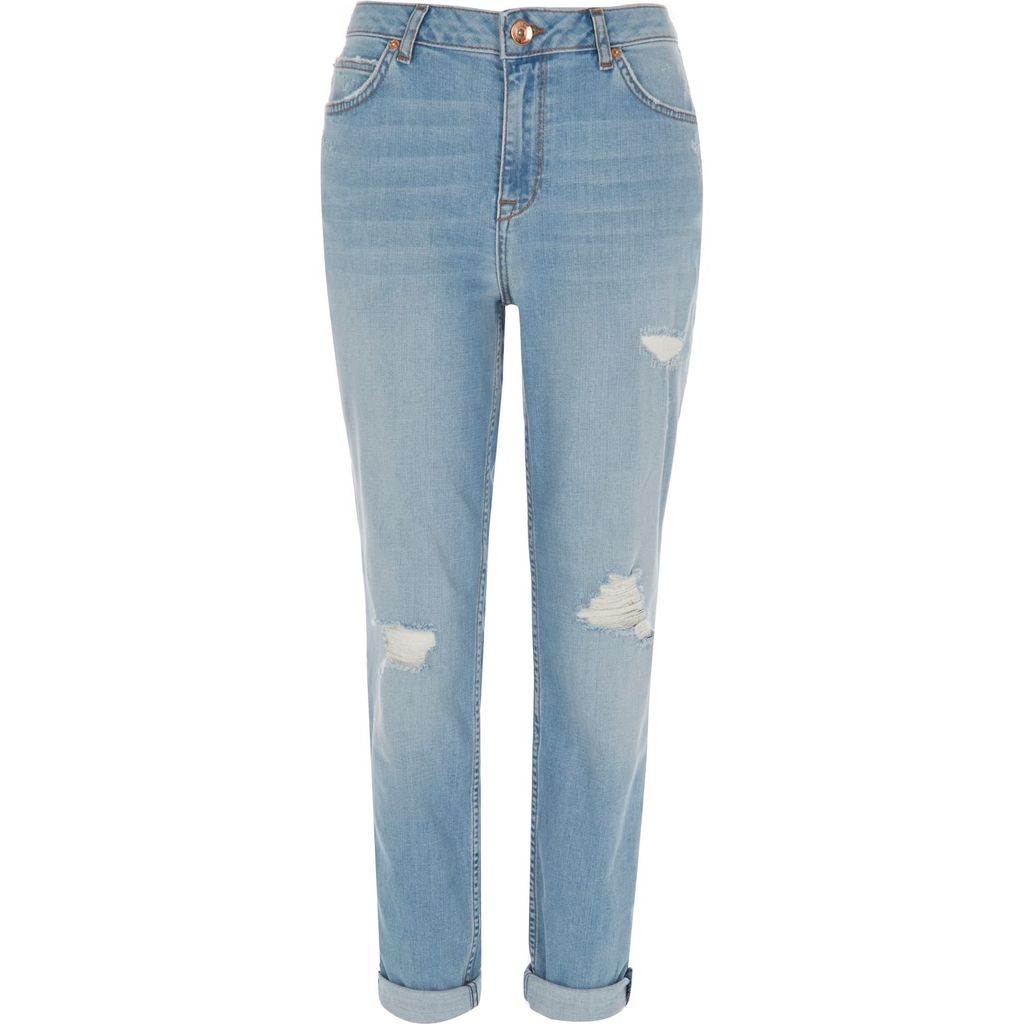 Womens Light Blue Wash Ripped Ashley Boyfriend Jeans - style: boyfriend; length: standard; pattern: plain; pocket detail: traditional 5 pocket; waist: mid/regular rise; predominant colour: pale blue; occasions: casual; fibres: cotton - 100%; texture group: denim; pattern type: fabric; jeans detail: rips; season: s/s 2016; wardrobe: basic