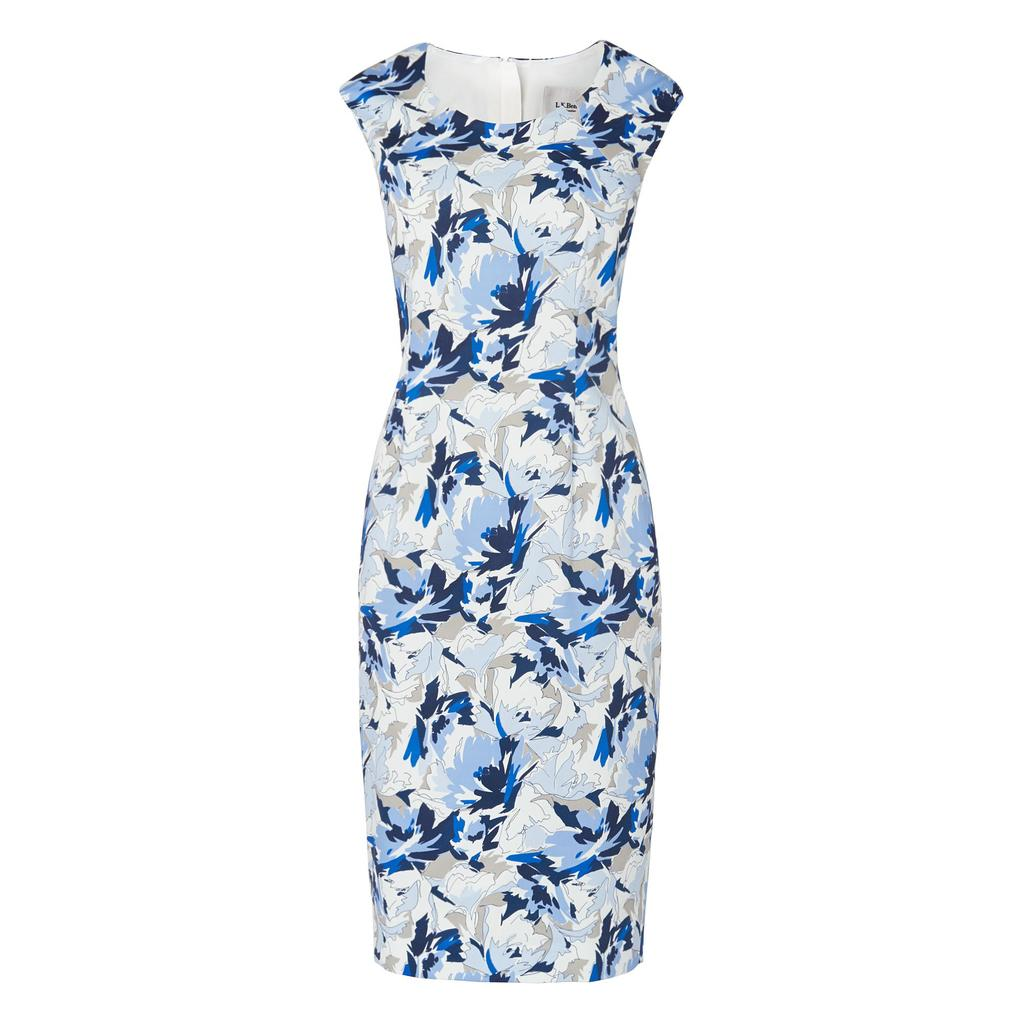 Dena Floral Print Dress Blue - style: shift; fit: tailored/fitted; sleeve style: sleeveless; predominant colour: ivory/cream; secondary colour: royal blue; occasions: evening; length: on the knee; fibres: cotton - stretch; neckline: crew; sleeve length: sleeveless; pattern type: fabric; pattern: florals; texture group: woven light midweight; multicoloured: multicoloured; season: s/s 2016; wardrobe: event
