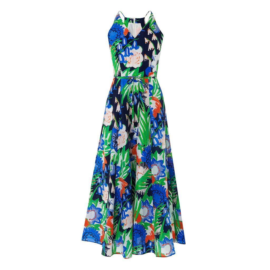 Kim Printed Floral Shift Dress Multi - neckline: v-neck; sleeve style: sleeveless; style: maxi dress; length: ankle length; secondary colour: royal blue; predominant colour: emerald green; occasions: evening; fit: fitted at waist & bust; fibres: linen - mix; sleeve length: sleeveless; pattern type: fabric; pattern: florals; texture group: other - light to midweight; multicoloured: multicoloured; season: s/s 2016