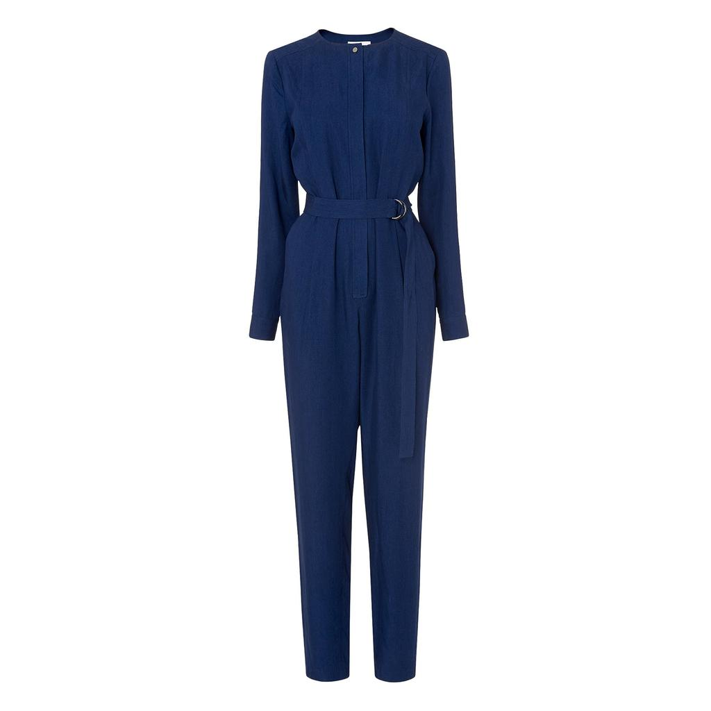 Safire Denim Jumpsuit - length: standard; neckline: round neck; fit: fitted at waist; pattern: plain; waist detail: belted waist/tie at waist/drawstring; predominant colour: navy; occasions: casual, creative work; fibres: polyester/polyamide - 100%; sleeve length: long sleeve; sleeve style: standard; texture group: denim; style: jumpsuit; pattern type: fabric; season: s/s 2016; wardrobe: highlight