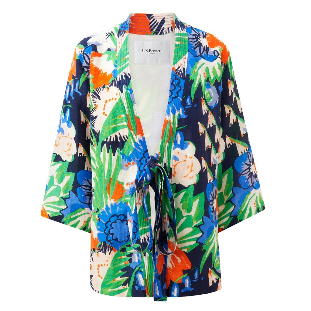 Kim Printed Floral Jacket - collar: round collar/collarless; length: below the bottom; predominant colour: diva blue; secondary colour: emerald green; occasions: casual, creative work; fit: straight cut (boxy); fibres: linen - mix; sleeve length: 3/4 length; sleeve style: standard; collar break: medium; pattern type: fabric; pattern size: light/subtle; pattern: florals; texture group: woven light midweight; style: fluid/kimono; season: s/s 2016; wardrobe: highlight
