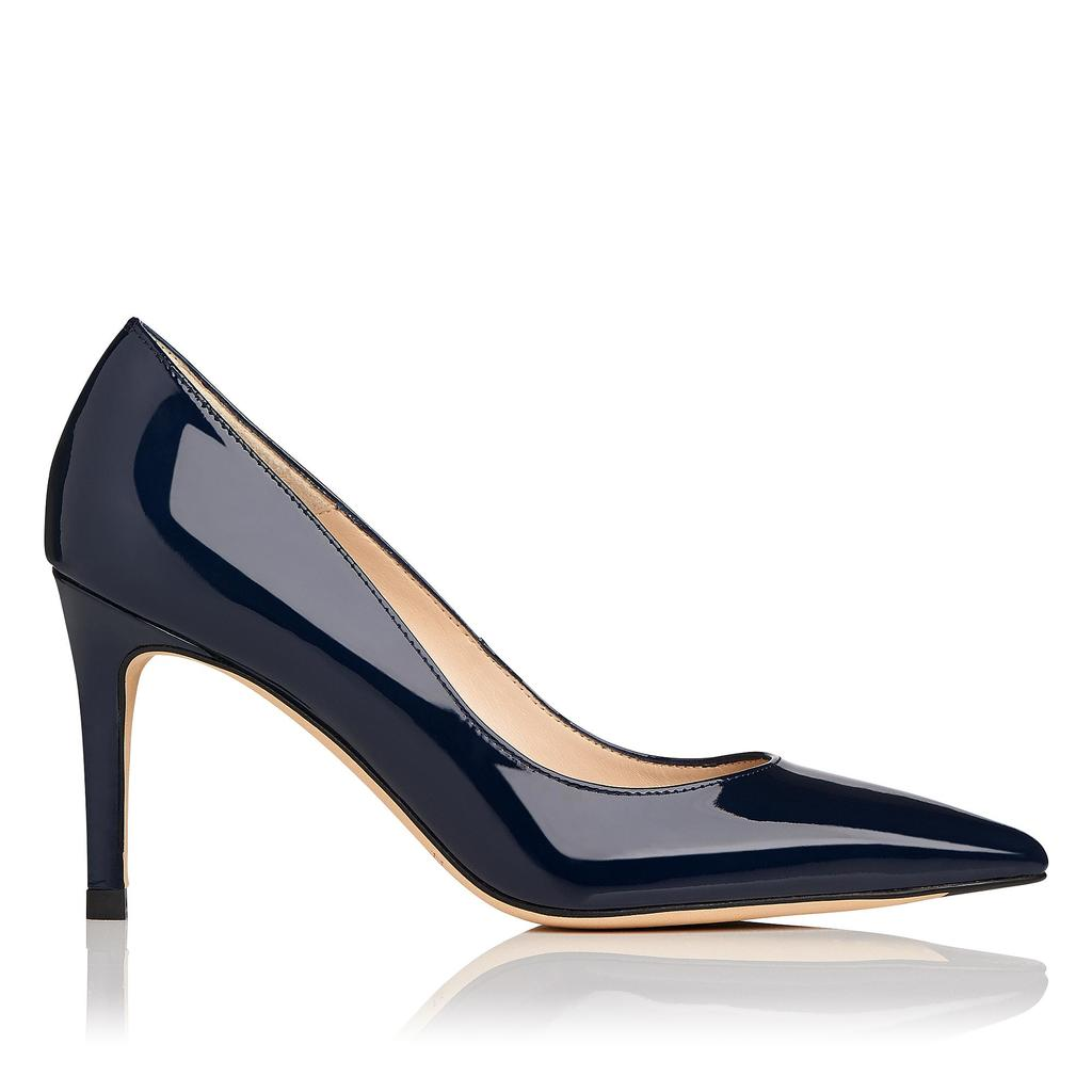 Floret Navy Patent Courts - predominant colour: navy; occasions: evening, occasion; material: leather; heel height: high; heel: stiletto; toe: pointed toe; style: courts; finish: patent; pattern: plain; season: s/s 2016; wardrobe: event