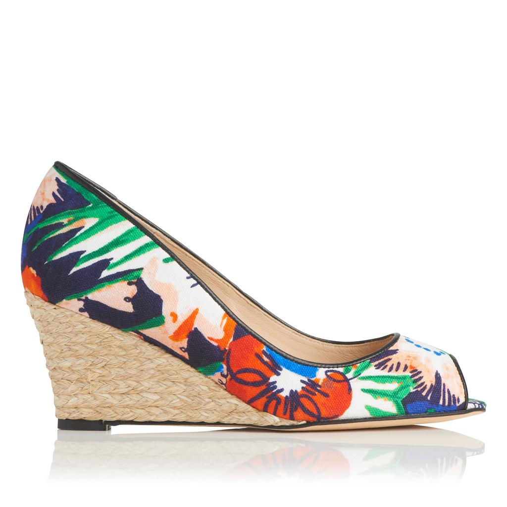 Zelita Jungle Espadrille Peep Toe Wedge - secondary colour: true red; predominant colour: emerald green; occasions: casual, creative work; material: fabric; heel height: high; heel: wedge; toe: open toe/peeptoe; finish: plain; pattern: florals; style: espadrilles; season: s/s 2016; wardrobe: highlight