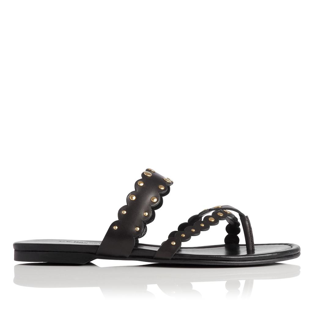 Allure Black Flat Leather Sandals - predominant colour: black; occasions: casual, holiday; material: leather; heel height: flat; heel: block; toe: toe thongs; style: strappy; finish: plain; pattern: plain; season: s/s 2016; wardrobe: basic