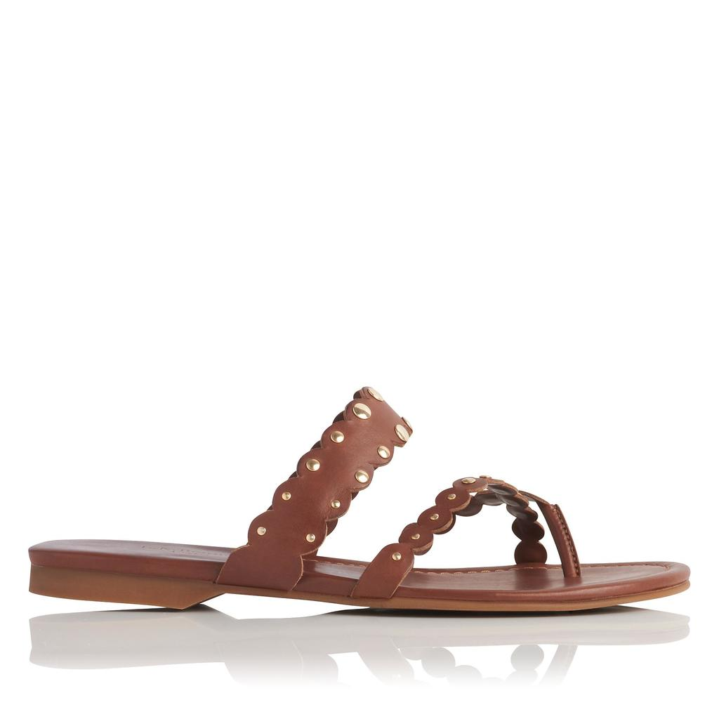 Allure Tan Flat Leather Sandals - predominant colour: tan; occasions: casual, holiday; material: leather; heel height: flat; heel: block; toe: toe thongs; style: strappy; finish: plain; pattern: plain; season: s/s 2016; wardrobe: highlight