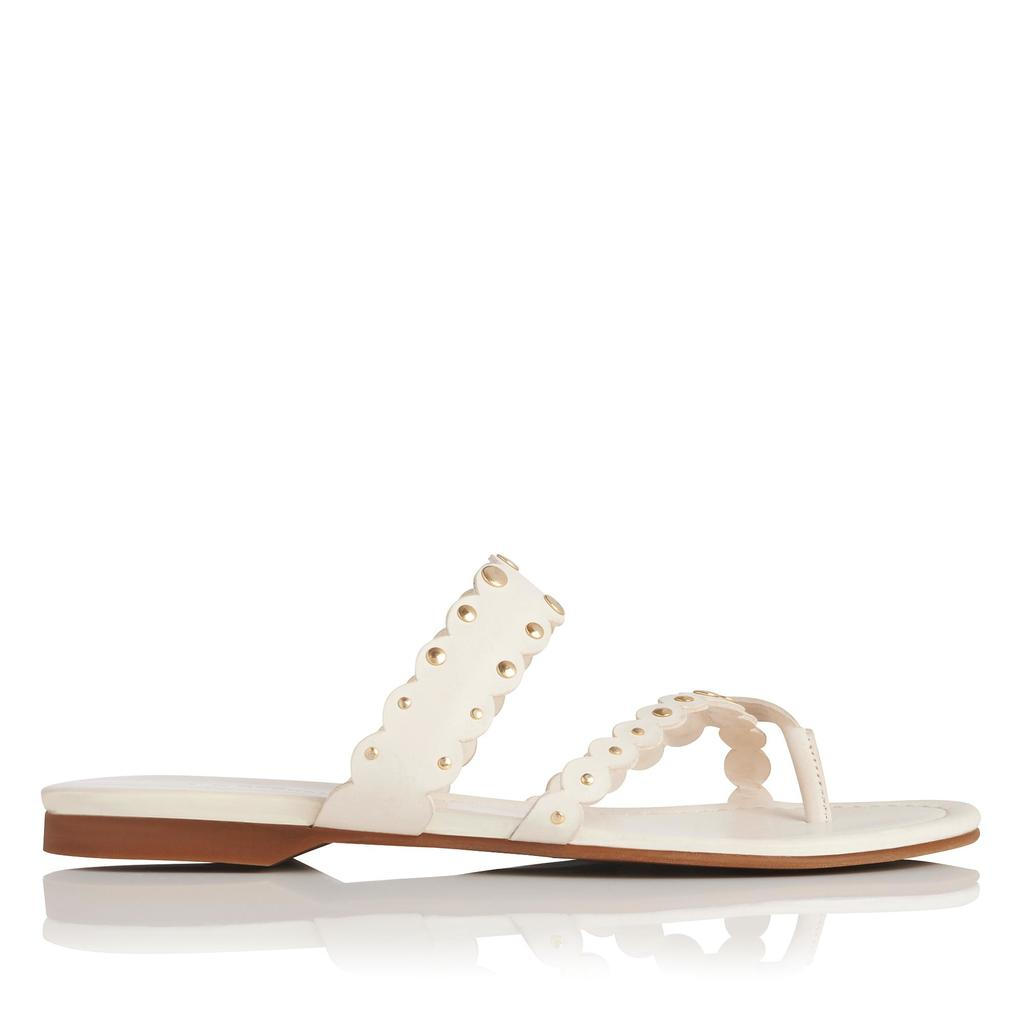 Allure White Flat Leather Sandals White Off White - predominant colour: white; occasions: casual, holiday; material: leather; heel height: flat; heel: standard; toe: toe thongs; style: strappy; finish: plain; pattern: plain; season: s/s 2016; wardrobe: basic