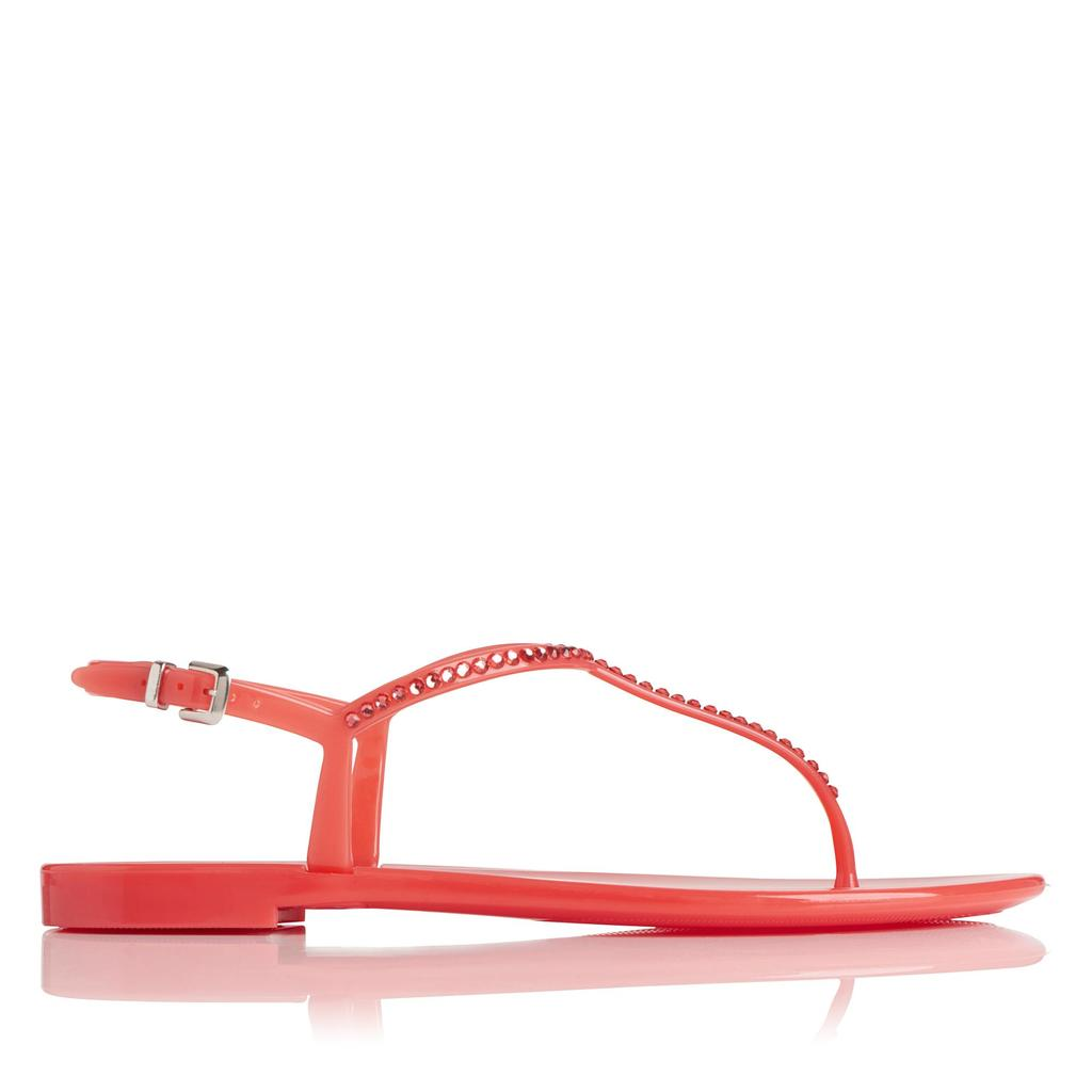 Lola Watermelon Flat Jelly Sandals - predominant colour: pink; occasions: casual, holiday; material: plastic/rubber; heel height: flat; heel: block; toe: toe thongs; style: strappy; finish: plain; pattern: plain; season: s/s 2016; wardrobe: highlight
