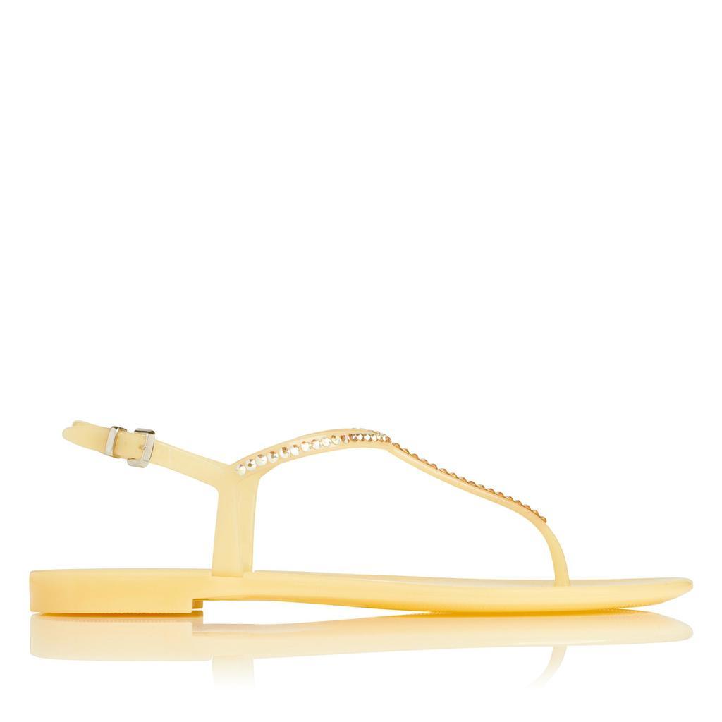Lola Lemon Flat Jelly Sandals - predominant colour: yellow; occasions: casual, holiday; material: plastic/rubber; heel height: flat; heel: block; toe: toe thongs; style: strappy; finish: plain; pattern: plain; season: s/s 2016; wardrobe: highlight