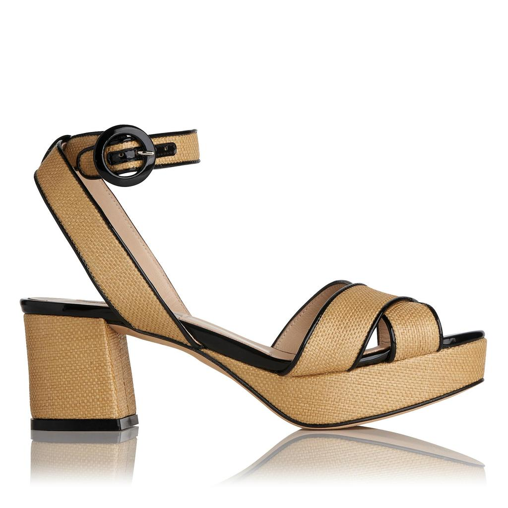 Minx Natural Platfrom Block Heels Natural - predominant colour: camel; occasions: casual, holiday; material: leather; heel height: mid; ankle detail: ankle strap; heel: block; toe: open toe/peeptoe; style: strappy; finish: plain; pattern: plain; shoe detail: platform; season: s/s 2016