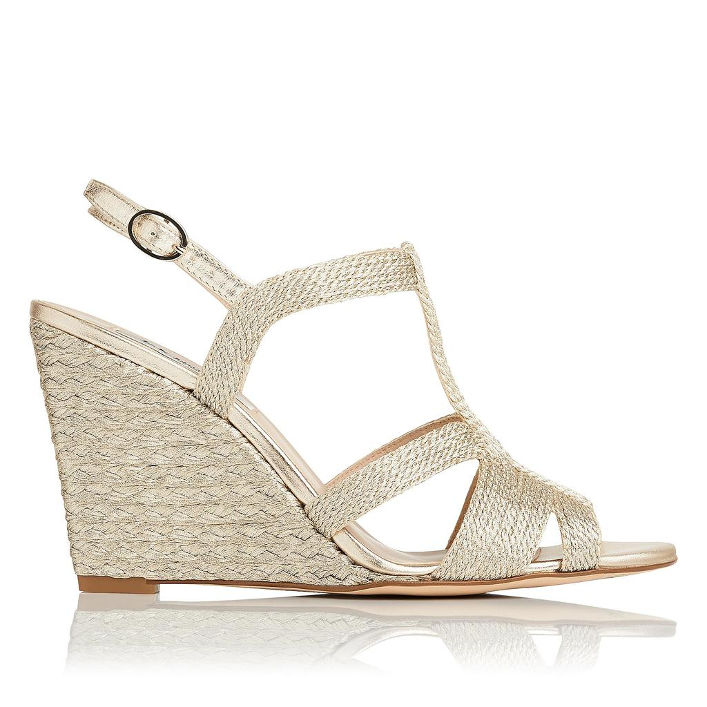 Ripley Gold Leather High Heel Sandals Metallic Pale Gold - predominant colour: gold; material: leather; heel height: high; ankle detail: ankle strap; heel: wedge; toe: open toe/peeptoe; style: strappy; occasions: holiday; finish: metallic; pattern: plain; season: s/s 2016; wardrobe: highlight