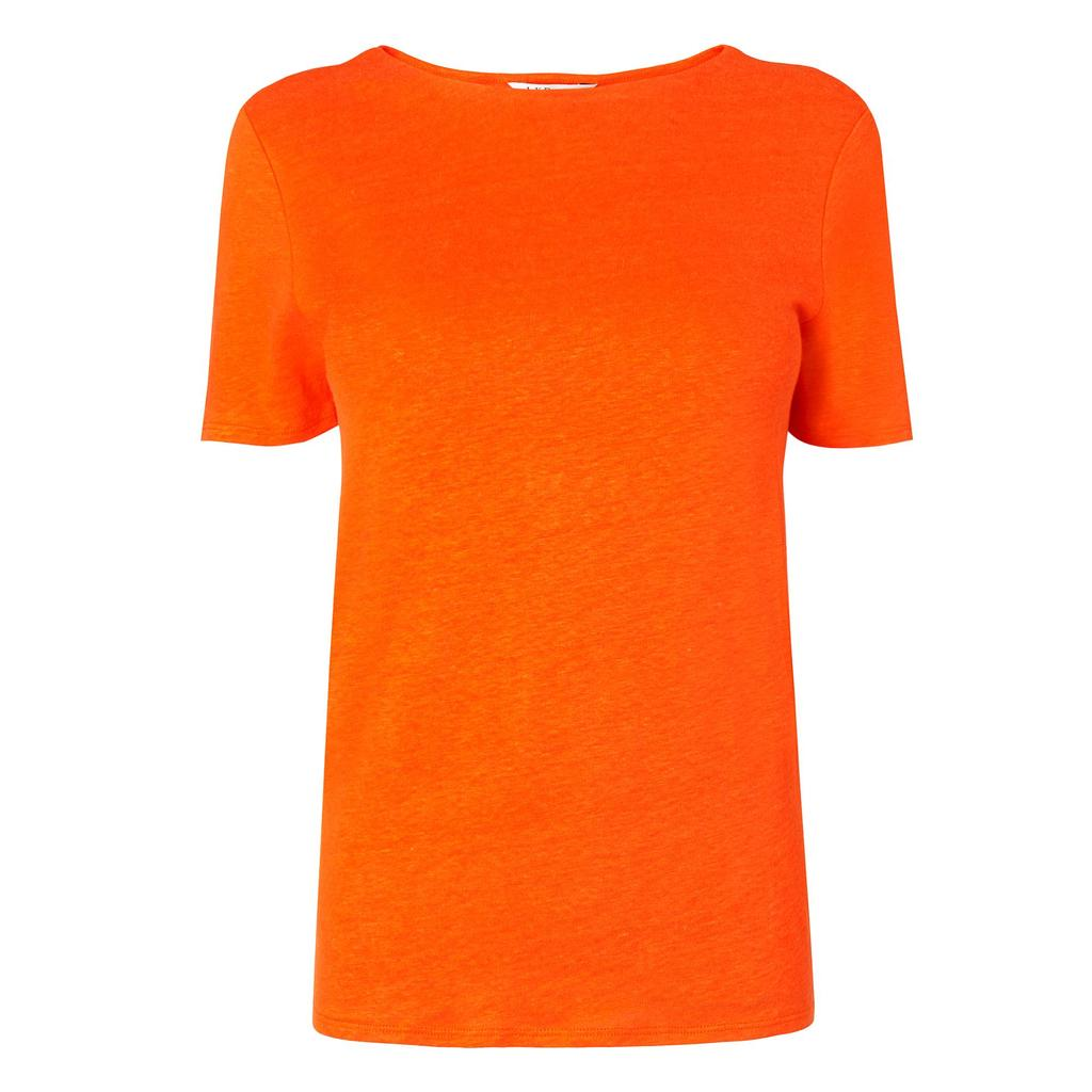 Hula Red Linen T Shirt - pattern: plain; style: t-shirt; predominant colour: bright orange; occasions: casual; length: standard; fibres: linen - 100%; fit: body skimming; neckline: crew; sleeve length: short sleeve; sleeve style: standard; texture group: linen; pattern type: fabric; season: s/s 2016; wardrobe: highlight