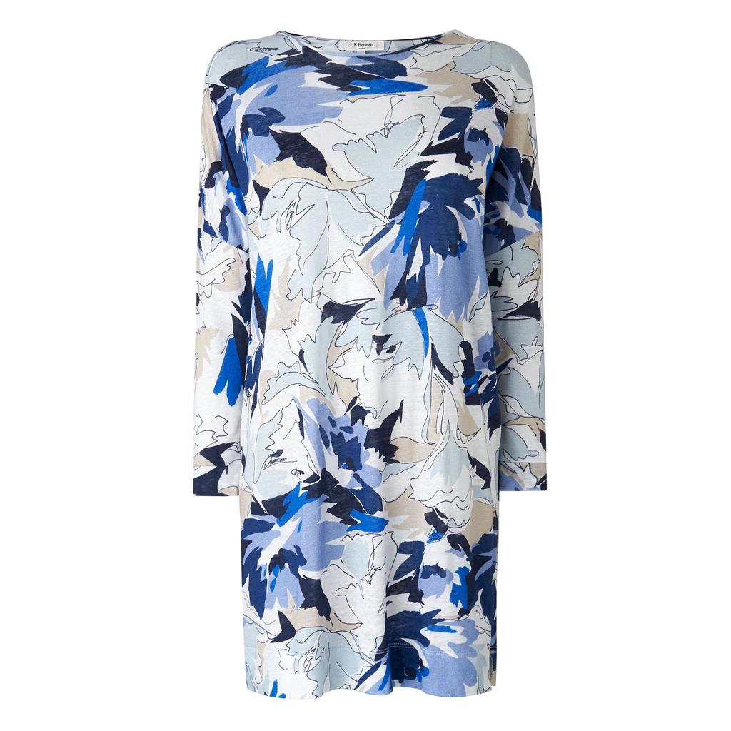 Mimi Blue Print Tunic Top - style: tunic; secondary colour: ivory/cream; predominant colour: navy; occasions: casual; fibres: linen - 100%; fit: body skimming; neckline: crew; length: mid thigh; sleeve length: long sleeve; sleeve style: standard; pattern type: fabric; pattern: florals; texture group: jersey - stretchy/drapey; multicoloured: multicoloured; season: s/s 2016; wardrobe: highlight