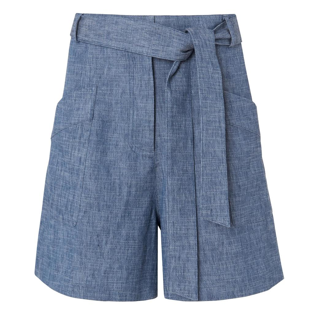 Enya Light Denim Tie Shorts Blue Denim - pattern: plain; waist: high rise; waist detail: belted waist/tie at waist/drawstring; predominant colour: denim; occasions: casual; fibres: cotton - mix; texture group: denim; pattern type: fabric; season: s/s 2016; style: shorts; length: mid thigh shorts; fit: standard