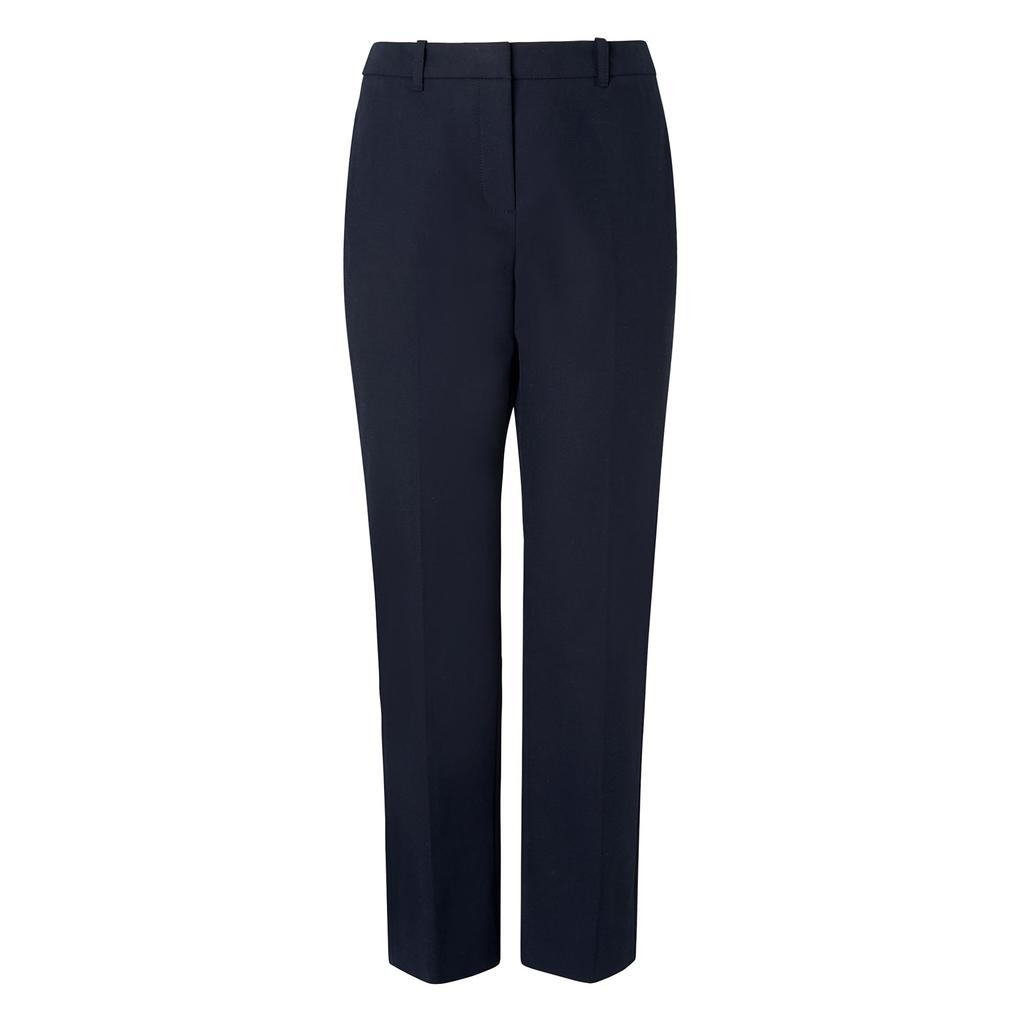 Lariese Navy Trousers Blue Sloane Blue - pattern: plain; style: peg leg; waist: high rise; predominant colour: navy; occasions: work; length: ankle length; fibres: cotton - mix; waist detail: narrow waistband; texture group: cotton feel fabrics; fit: tapered; pattern type: fabric; season: s/s 2016; wardrobe: basic