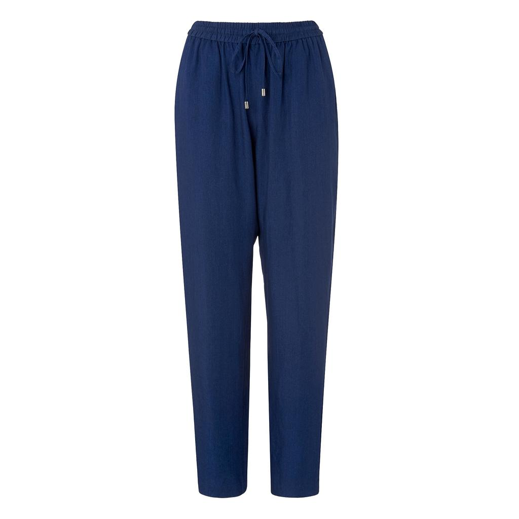 Saffy Denim Trouser Joggers Blue Denim - length: standard; pattern: plain; style: peg leg; waist detail: belted waist/tie at waist/drawstring; waist: mid/regular rise; predominant colour: navy; occasions: casual; fibres: viscose/rayon - 100%; texture group: crepes; fit: tapered; pattern type: fabric; season: s/s 2016
