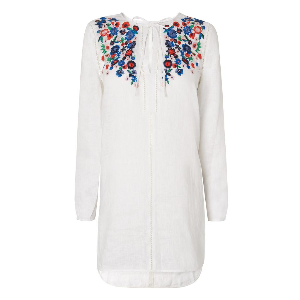Indra Floral Embroidered Linen Top White - neckline: round neck; style: tunic; shoulder detail: contrast pattern/fabric at shoulder; predominant colour: white; secondary colour: royal blue; occasions: casual, creative work; fibres: cotton - 100%; fit: body skimming; length: mid thigh; sleeve length: long sleeve; sleeve style: standard; texture group: cotton feel fabrics; pattern type: fabric; pattern size: light/subtle; pattern: patterned/print; multicoloured: multicoloured; season: s/s 2016; wardrobe: highlight