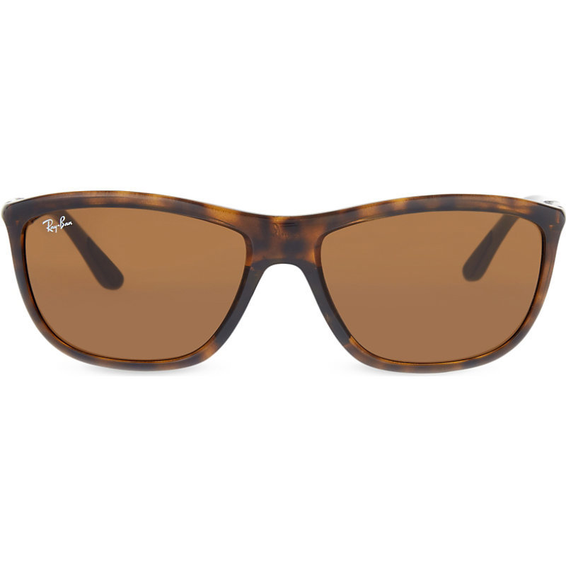 Rb8351 Square Frame Sunglasses, Women's, Shiny Havana - predominant colour: chocolate brown; secondary colour: tan; occasions: casual, holiday; style: square; size: standard; material: plastic/rubber; pattern: plain; finish: plain; season: s/s 2016; wardrobe: basic