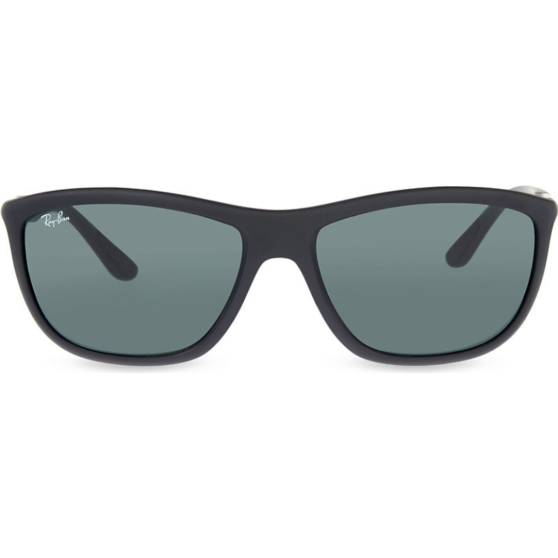 Rb8351 Square Frame Sunglasses, Women's, Matte Black - predominant colour: black; occasions: casual, holiday; style: square; size: standard; material: plastic/rubber; pattern: plain; finish: plain; season: s/s 2016; wardrobe: basic