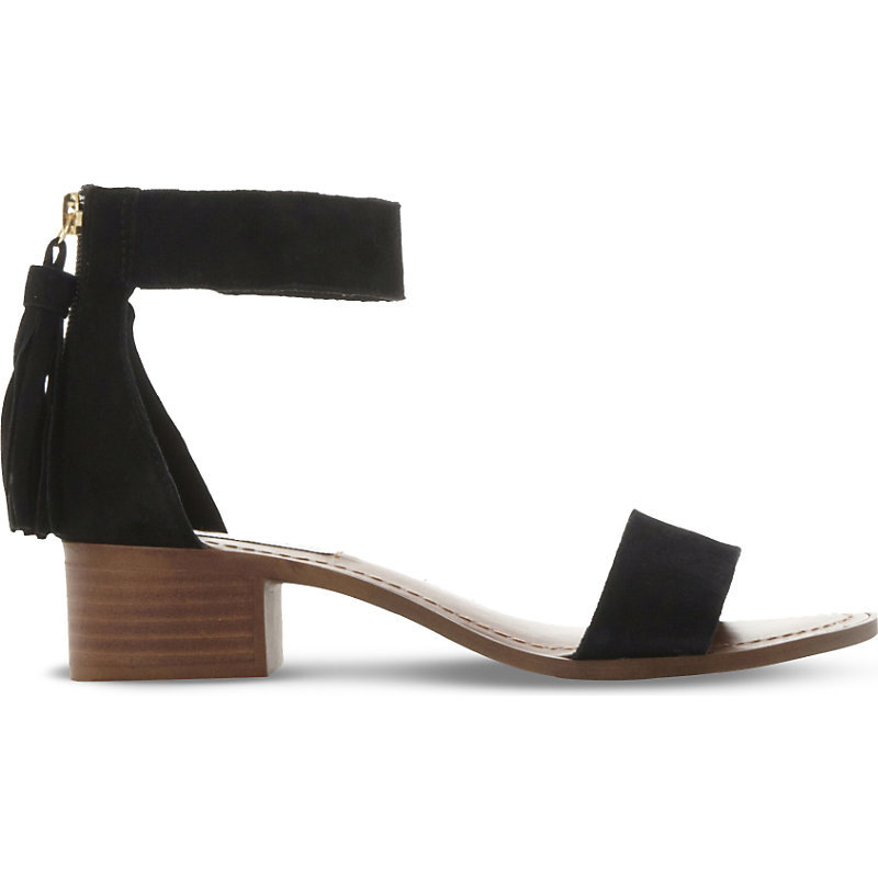 Darcie Suede Heeled Sandals, Women's, Eur 36 / 3 Uk Women, Black Suede - predominant colour: black; occasions: casual, holiday; material: suede; heel height: mid; ankle detail: ankle strap; heel: block; toe: open toe/peeptoe; style: strappy; finish: plain; pattern: plain; season: s/s 2016