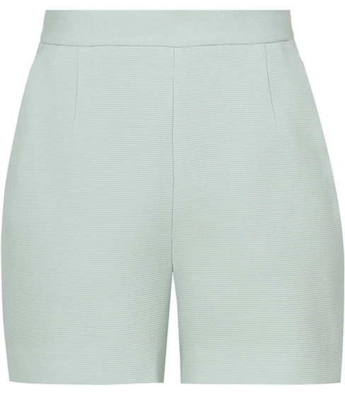 Greece Short Textured Tailored Shorts - pattern: plain; waist: high rise; predominant colour: pistachio; occasions: evening, occasion; fibres: polyester/polyamide - 100%; pattern type: fabric; texture group: woven light midweight; season: s/s 2016; style: shorts; length: short shorts; fit: slim leg; wardrobe: event