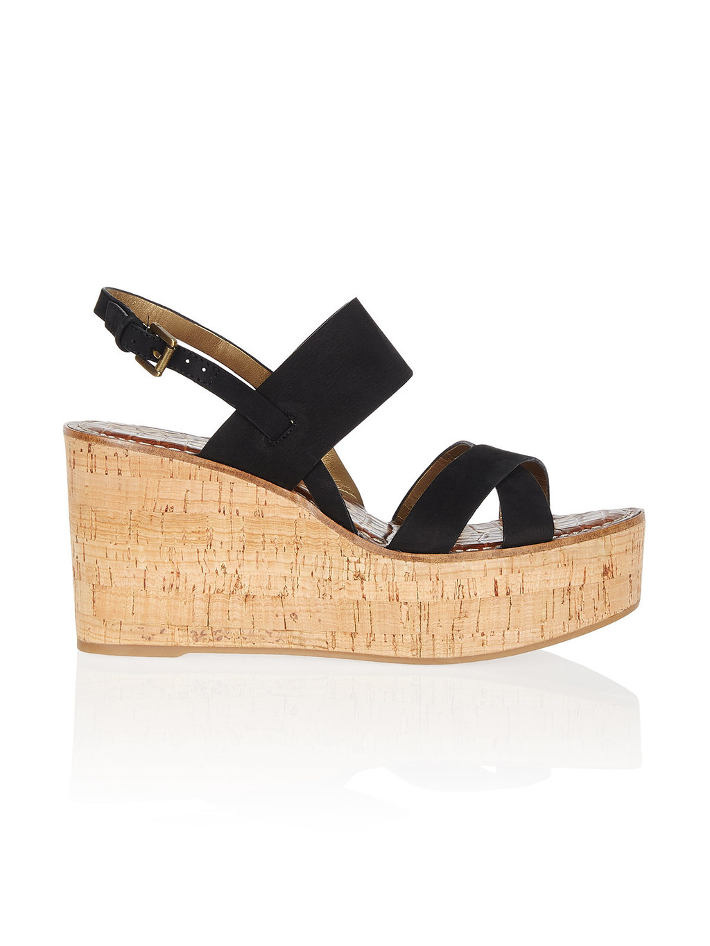 Destiny Black Sandal - predominant colour: black; occasions: casual, holiday; material: suede; heel height: high; heel: wedge; toe: open toe/peeptoe; style: strappy; finish: plain; pattern: plain; shoe detail: platform; season: s/s 2016