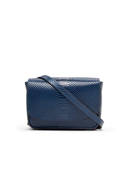 Mini Snake Saddle Bag Navy - predominant colour: navy; occasions: casual, creative work; type of pattern: heavy; style: messenger; length: across body/long; size: standard; material: faux leather; pattern: animal print; finish: plain; season: s/s 2016; wardrobe: highlight
