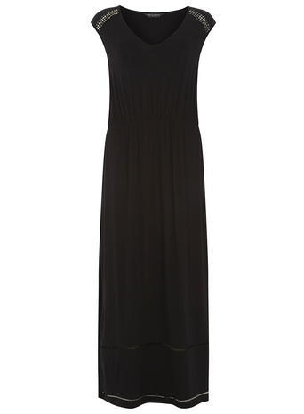 Womens Trim Detail Maxi Dress Black - neckline: low v-neck; sleeve style: capped; fit: fitted at waist; pattern: plain; style: maxi dress; length: ankle length; predominant colour: black; occasions: casual; fibres: polyester/polyamide - stretch; sleeve length: short sleeve; pattern type: fabric; texture group: jersey - stretchy/drapey; season: s/s 2016; wardrobe: basic